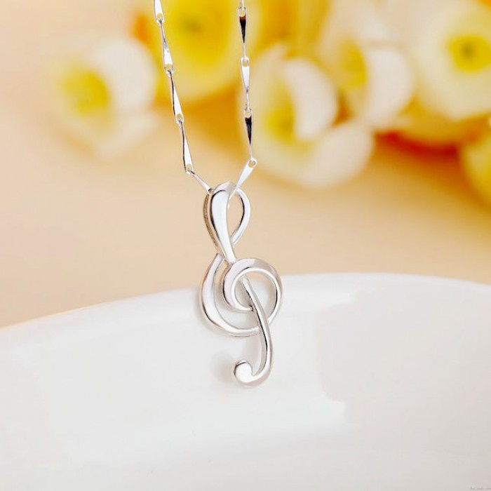 Elegant Pure Sterling Silver Polishing Music Note Pendant Necklace