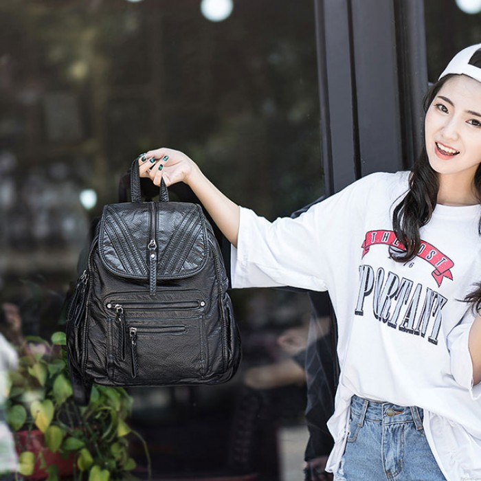 Cool PU Soft Leather Washed British Style Black Weave Leather Backpacks