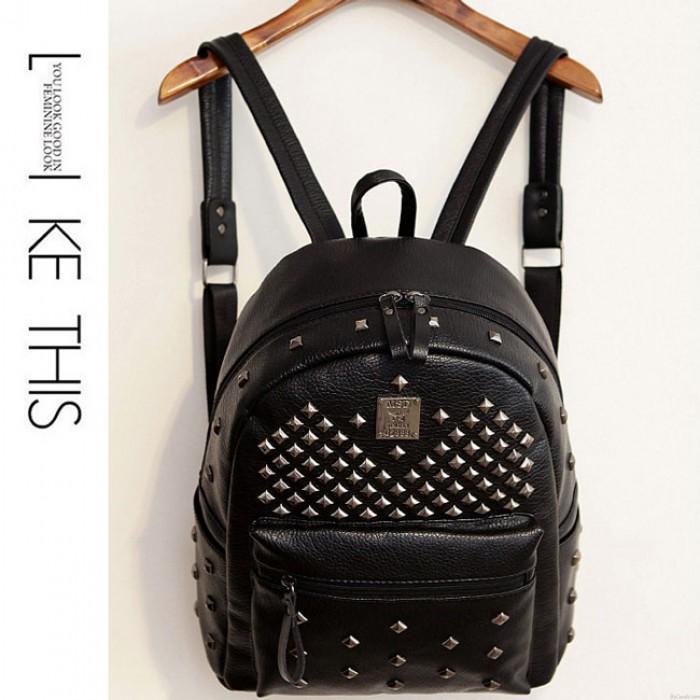 Punk PU Rivets Lichee Pattern School Bag Girl's Backpack