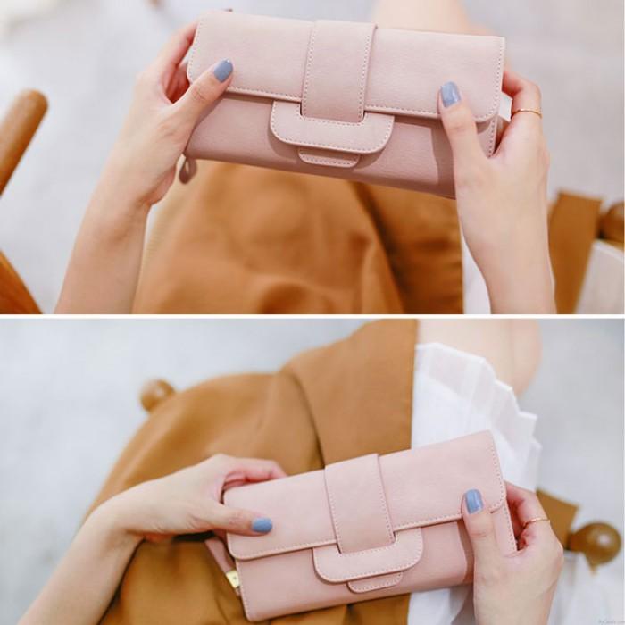 Fresh Girl's Square Whole Color PU Purse Wallet Clutch Bag