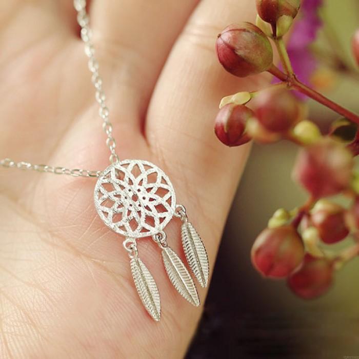 DreamCatcher Silver Hollow Leave Tassel Pendant Original Necklace
