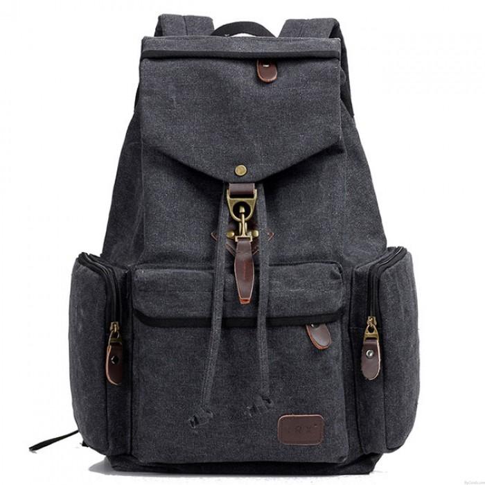 Retro Canvas Men's School Rucksack Flap Metal Lock Large Capacity Backpack Travel Backpack