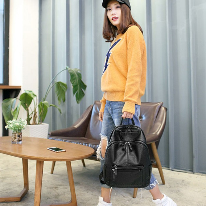 Fashion Black Soft Leather Ladies Simple Large College Backpack