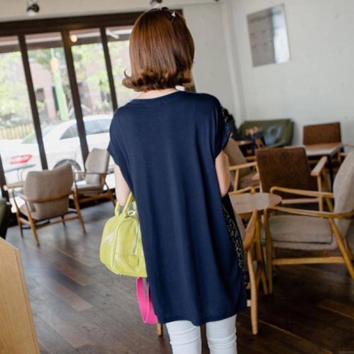 Fashion Cute Sailboat Pattern Round Neck Short Sleeve Loose T-shirt
