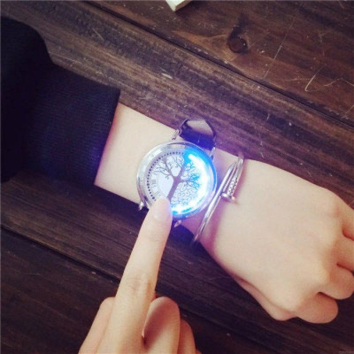Fashion LED Light Touch-screen Control Dial Waterproof Black White Life Tree Simple Chic Watch