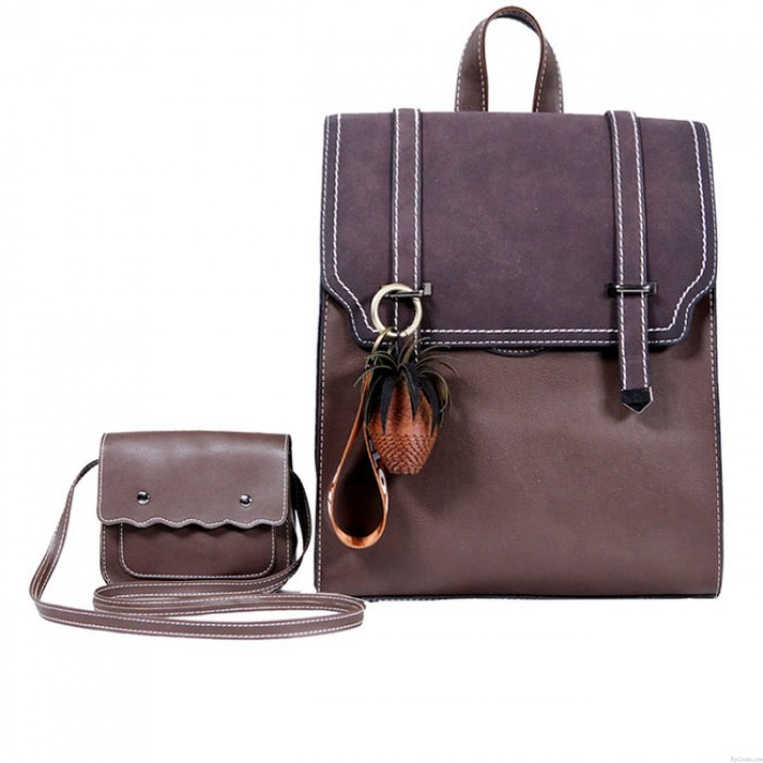 Leisure Frosted Flap Square Belt School Bag Gift Small Shoulder Bag Girl's Vintage PU College Backpack