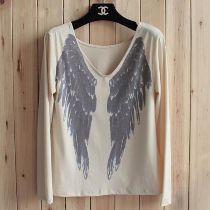 Fashion Angel Wings V Neck Long Sleeve Blouse T-Shirt