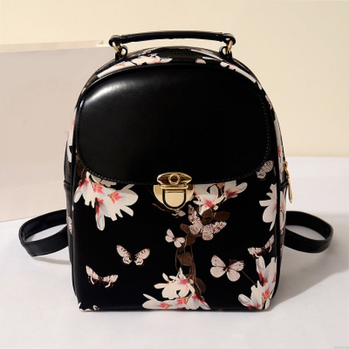 College Casual Floral Cute Bear Eiffel Tower Pattern School Travel Backpack