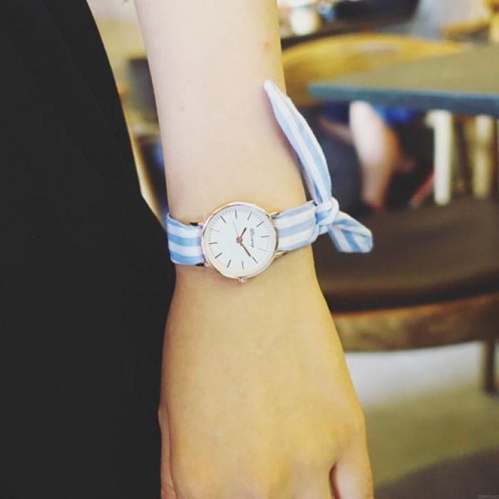 Chic Color Stripe Fresh Floral Cloth Strap Simple Style Dial Bracelet Girl's Student Quartz Watch