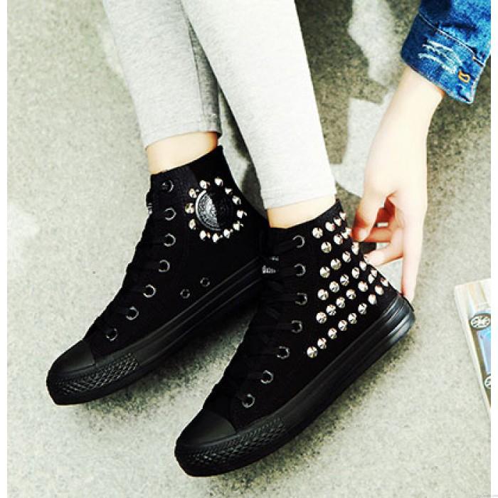 Punk Style Rivet High-top Canvas Shoes