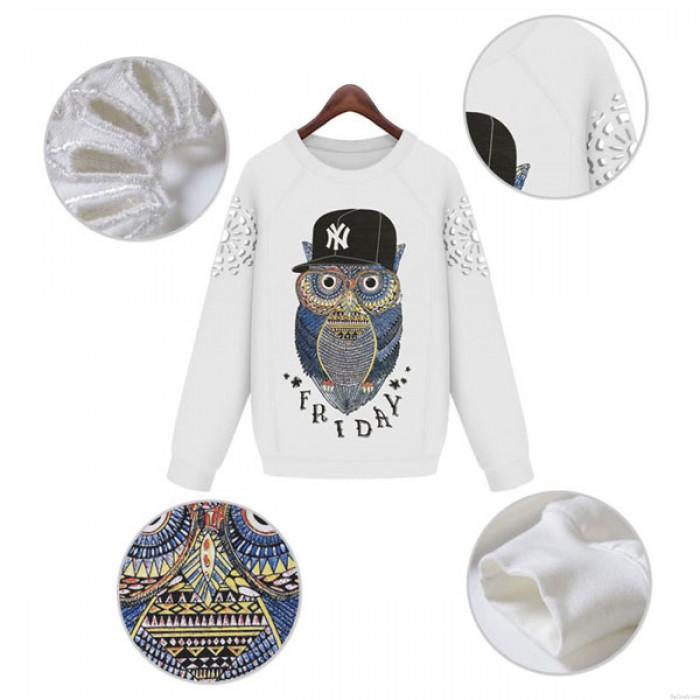 New Casual Baseball Cap Owl Pattern Female Hollow Sleeve Loose Top