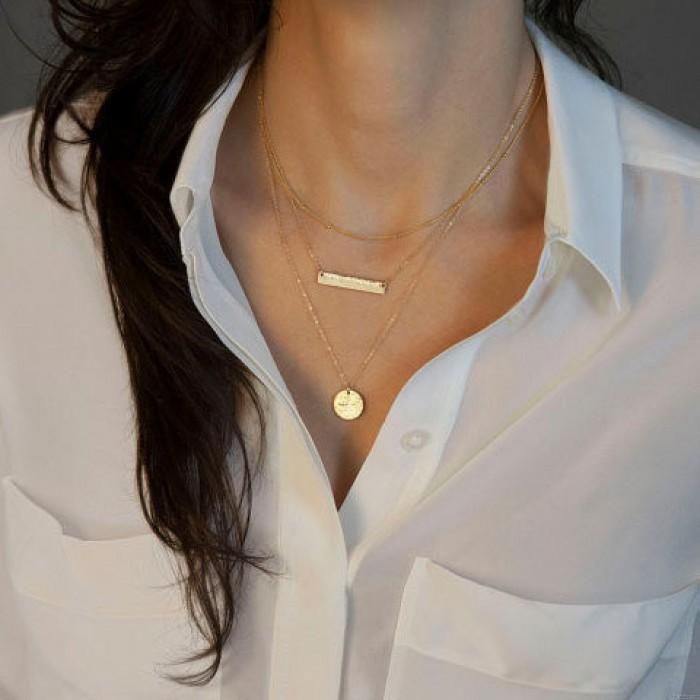 Special Geometric Sequins Multilayer Necklace/Set