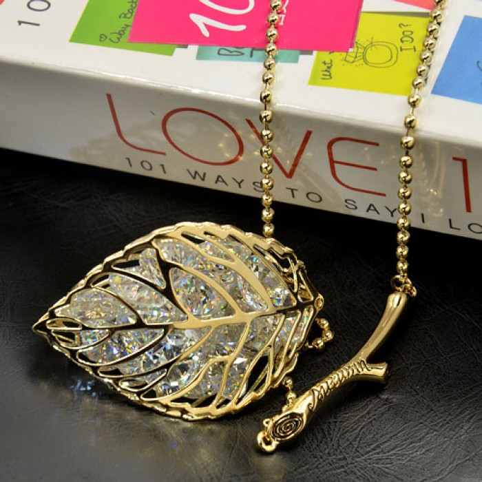 Elegant Jewelry Hollow Leave Crystal Pendant Branch Sweater Necklace