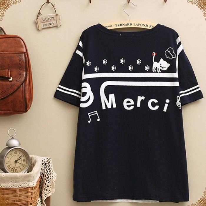 College Leisure Kitten Stripe Pattern Short-sleeve Loose T-shirt