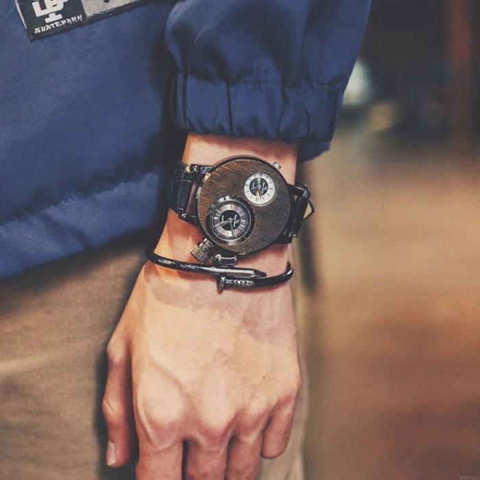 Unique Retro Circular Stringy Double Dials Men's Quartz Watch