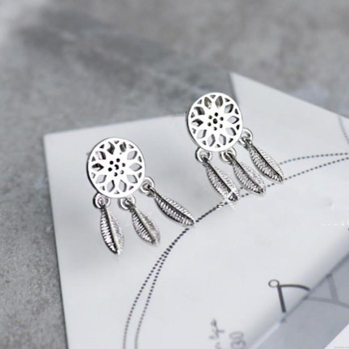 Retro Dream Catcher Feather Folk Tassel Silver Girl's Hollowed-out Earring Studs