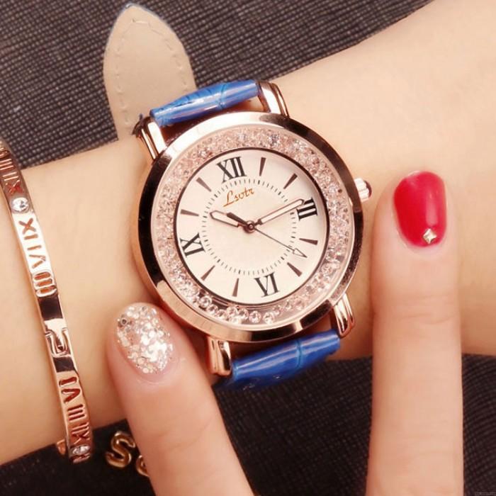 Fashion Shining Flowing Diamond Roman Numerals Dial Quartz Women's Watch