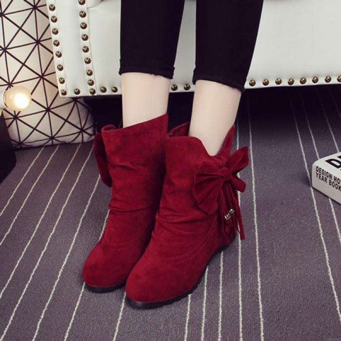 Lovely Bow Bead Tassel Within Higher Wedge Heel Folds Girls Boots