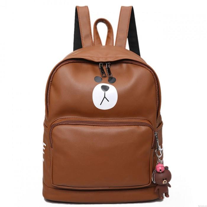 Cute Girl's PU Bear Printing Gift Bear Head Flap Small Shoulder Bag Large Animal School Backpack
