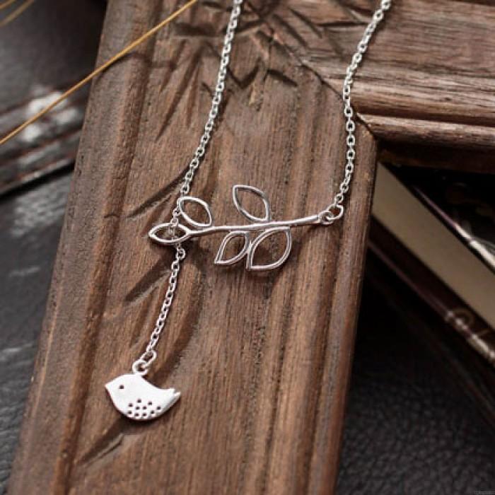 Bird Leaves Together Hollow Pendant Elegant Sterling Silver Necklace