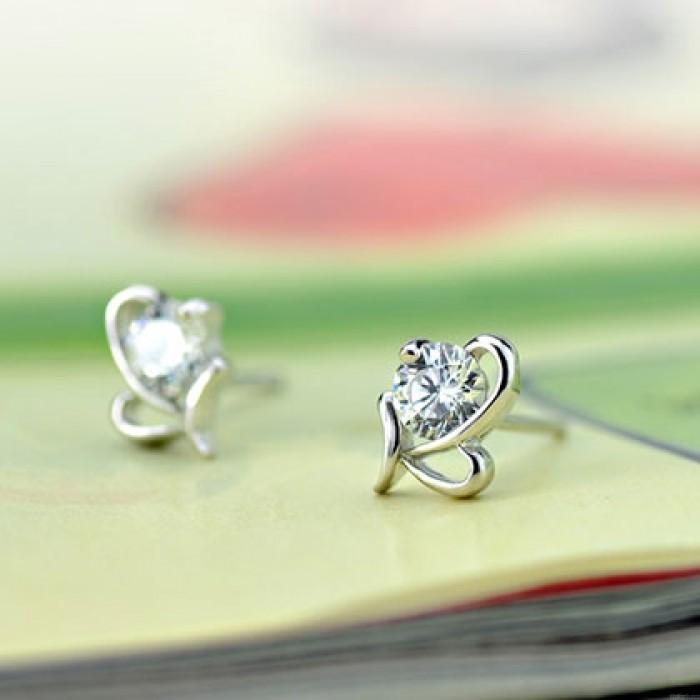Stylish Shining Diamond Butterfly Zircon Silver Insect Earring Studs