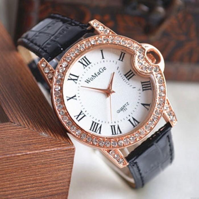 Roman-style Diamond-studded Student Leather Watch