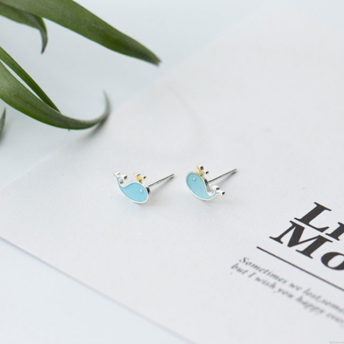 Lovely Blue Fish Little Whale Animal Women's Silver Earring Studs