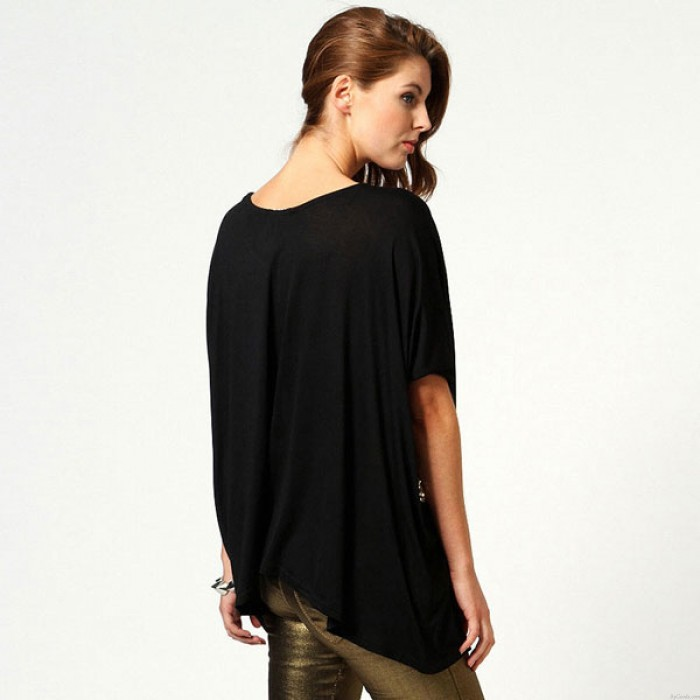 Classic Cross Sequined Round Neck Sleeve Cotton T-shirt