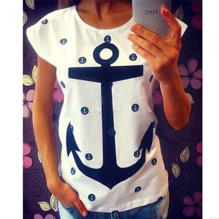 Leisure Girls Anchors Dot Pattern Short-sleeve Hollow Back T-shirt