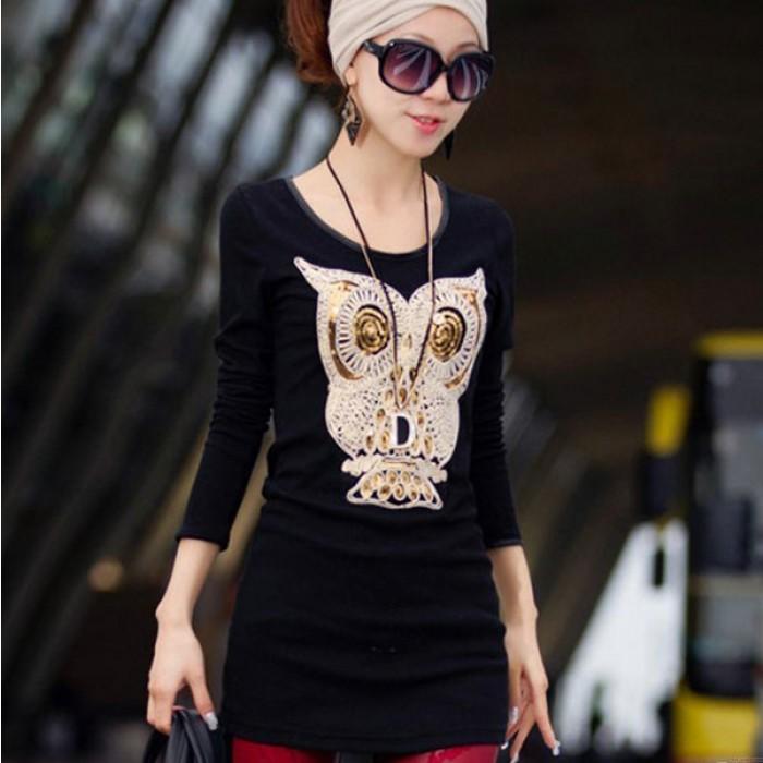 Lovely Owl Sequins Velvet Long Sleeve Tops Bottoming Shirt