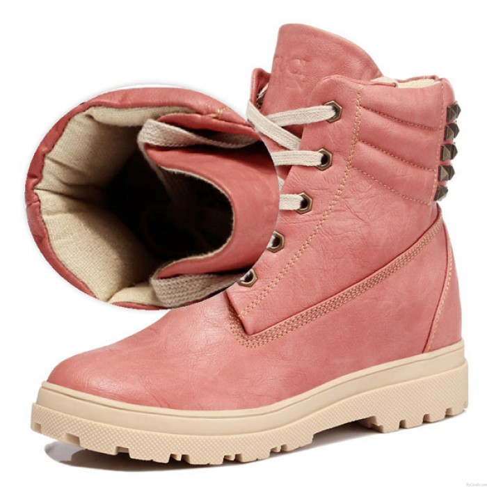 Height Increasing Shoes Rivet Leather Snow Boots
