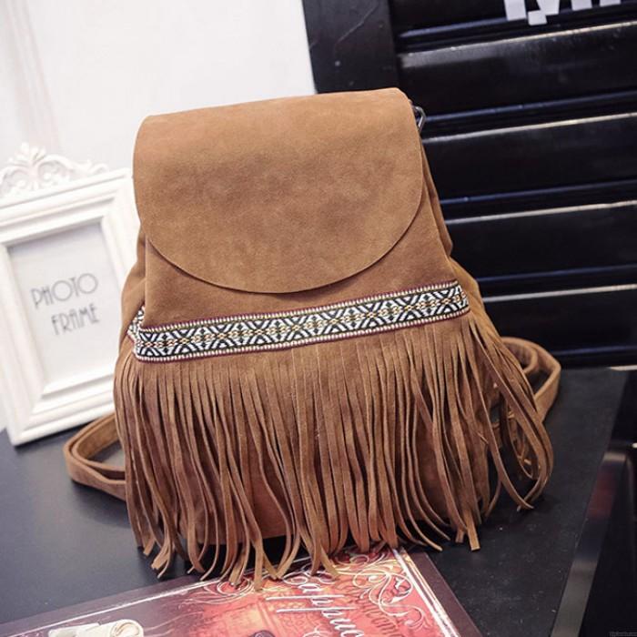 Unique Ethnic Embroidery Tassel Drawstring Frosted Shoulder Bag Backpack