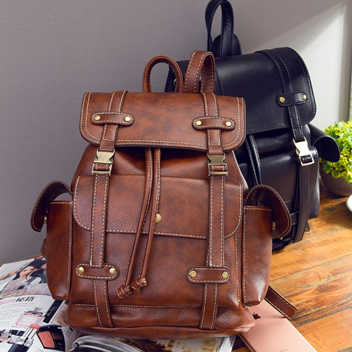 Retro Three Pockets Two Belts School Bag Leisure Brown England Style Travel Backpack