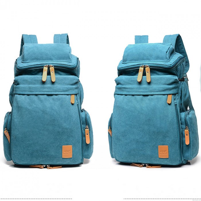 Retro Camping Zippered Backpack Washing Color Canvas Extensible Large Capacity Travel Backpacks