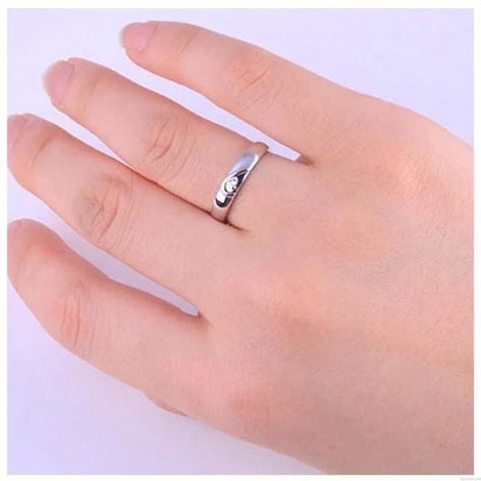 Lettering 925 Silver Couple Half Heart Rhinestone Ring