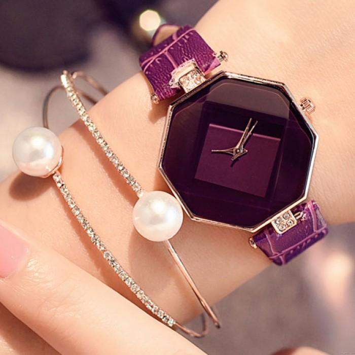 Unique Geometric Shapes Incised Crystals Embedded Strap Bracelet Quartz Women Watch