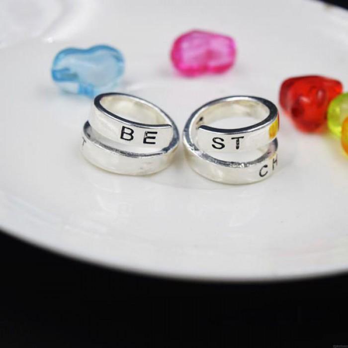 BEST BITCHES Letter Original Girlfriends Spiral Opening Ring