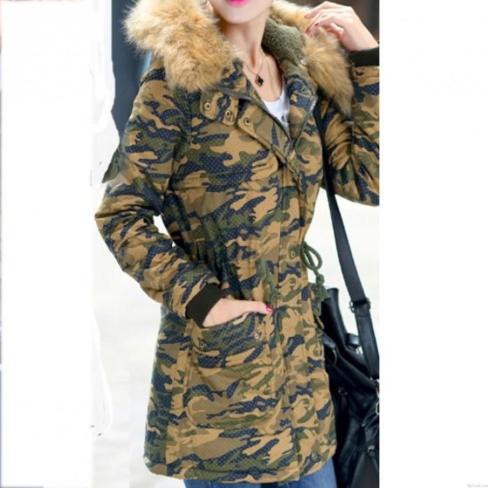 Women Camo Slim Long Thick Cotton Windbreaker Jacket Coat