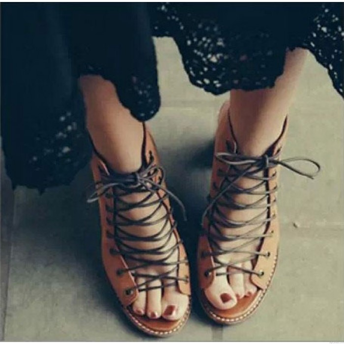 vintage Summer Thick With Roman Sandals Bandage High-heels Leather Shoes