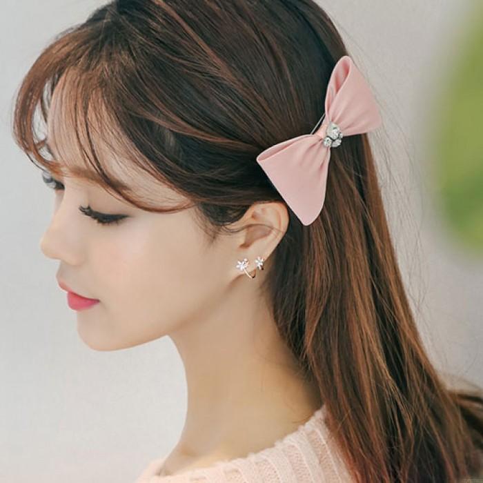 Sweet Lady Silver Arc Hook Flower Earring Studs
