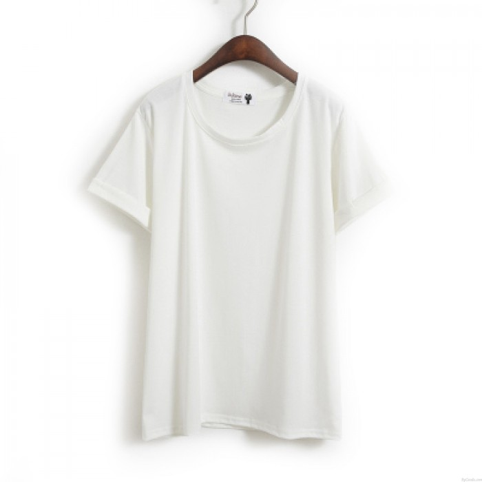 Leisure Solid Crimping Sleeves Cotton Short Sleeve Loose T-shirt