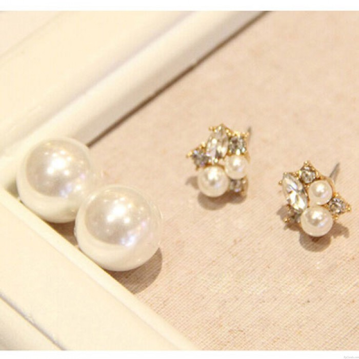 Sweet Ladies Pearl Diamond Pieces Shining Dual Earrings
