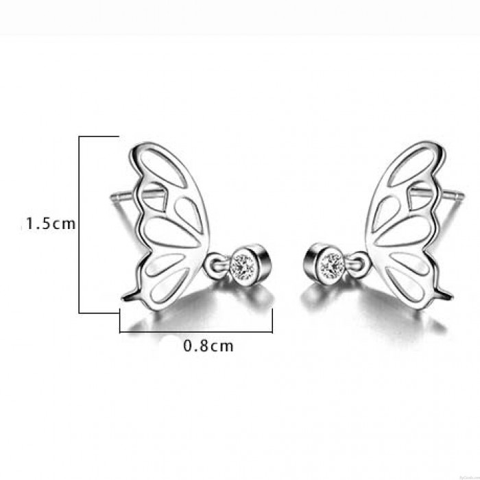 Sweet Hollowed-out Butterfly Wings Mini Crystal Pendant Silver Girl's Earring Studs