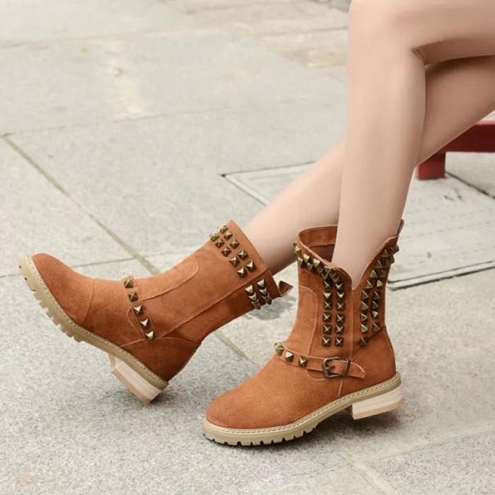 Vintage Rivet Nubuck Leather Buckle Boots