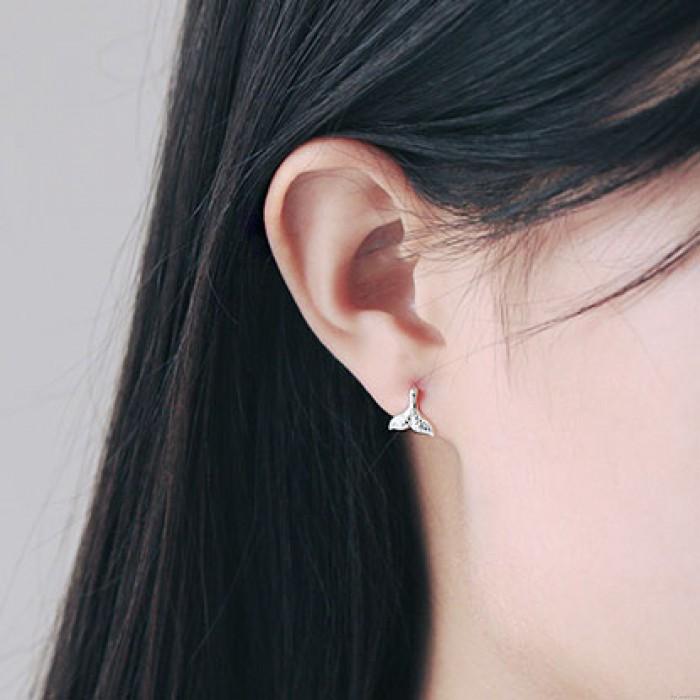 Unique Silver Mermaid Fish Tail Women Handmade Earring Studs