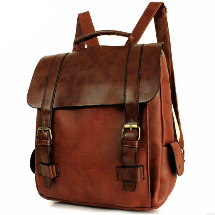 Vintage College Double Hasp Solid Clamshell Travel Backpack School Bag