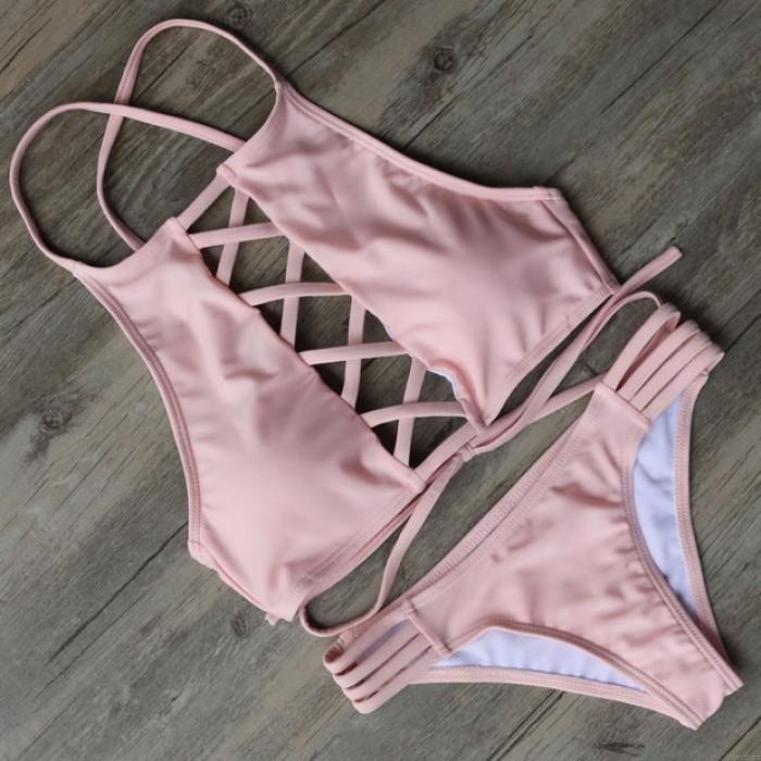 Lace Up Sexy Bikini Set Swimsuit Beach Bathing Suits For Women