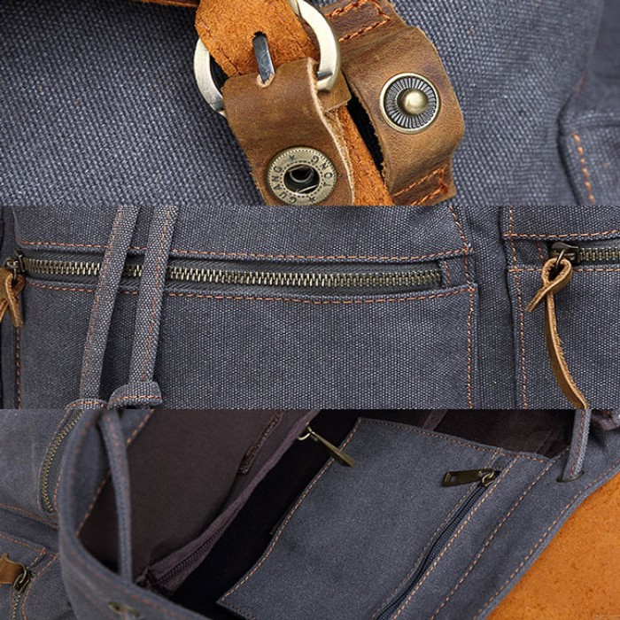 Vintage Real Leather Large Thick Canvas Three Pockets School Camping Bag Travel Backpack