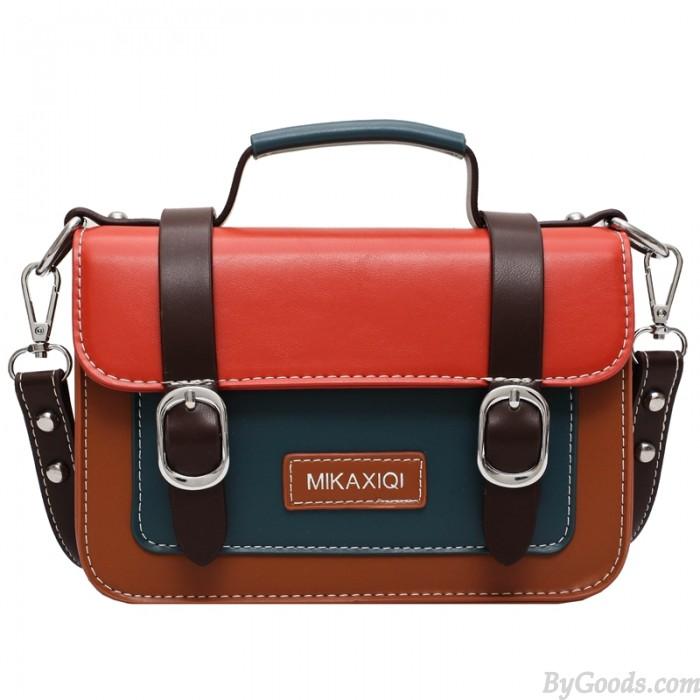 Sacs à bandoulière rétro à double boucle de couleur contrastée pour sac à bandoulière pour femme