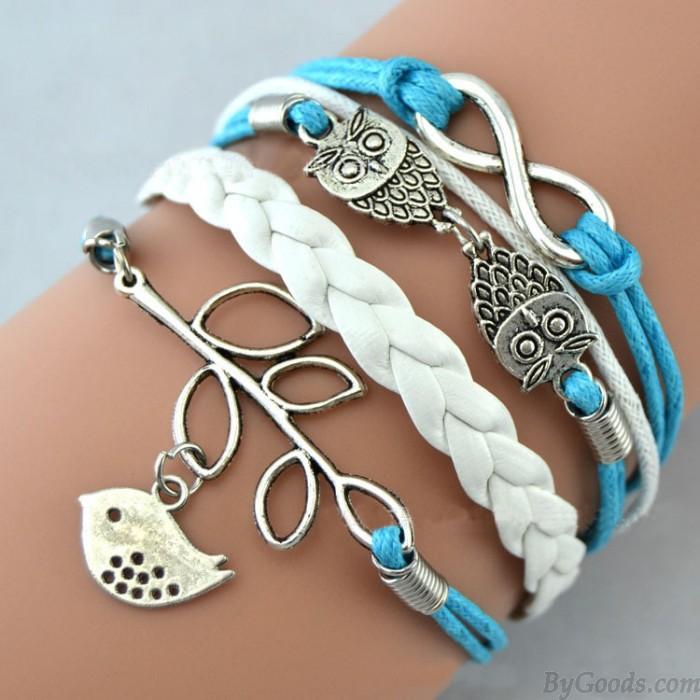 Cute Owl Love Pigeons Branch Infinity Bracelet